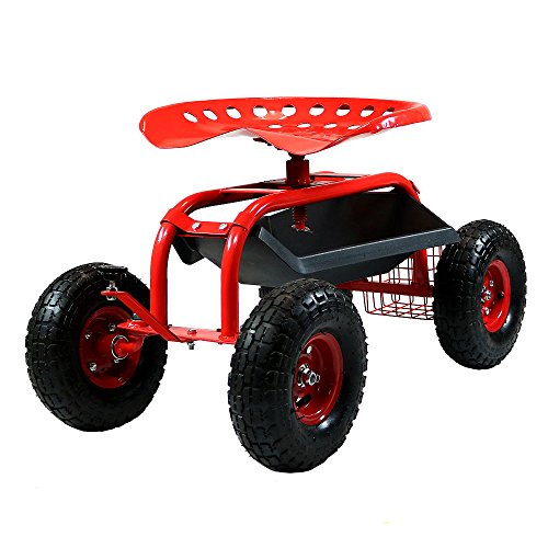 (Sunnydaze Rolling Garden Cart Scooter with Wheels, 360 Swivel Seat, and Utility Tool Storage Basket, Red)