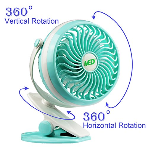 Baby Stroller Mini Battery Operated Clip Fan,Small Portable Fan Powered by Rechargeable Battery or USB Desk Personal Car Gym Workout Camping (green) by MED FAN (Image #2)