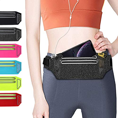 QUANFUN Slim Running Belt, Fanny Packs Waist Pack with Two Zipper Pockets Pouch Bag Compatible for Women Men, Workout Phone Holder for iPhone XR XS Max X 8+, Galaxy, Fits up to 6.5