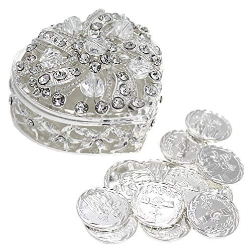 Silver Gold Coin (CB Accessories Wedding Unity Coins - Arras de Boda - Heart Shaped Chest Box with Decorative Rhinestone Crystals (Silver))