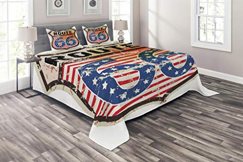 Traditional Road Trip American (Lunarable Route 66 Coverlet Set King Size, Retro Popular American Road Trip Sign with Flag Stars National Journey Design, 3 Piece Decorative Quilted Bedspread Set with 2 Pillow Shams, Multicolor)
