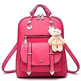 Fashion PU Leather Backpack Shoulder Bag Rucksack Travel Bag (M005-RoseRed)