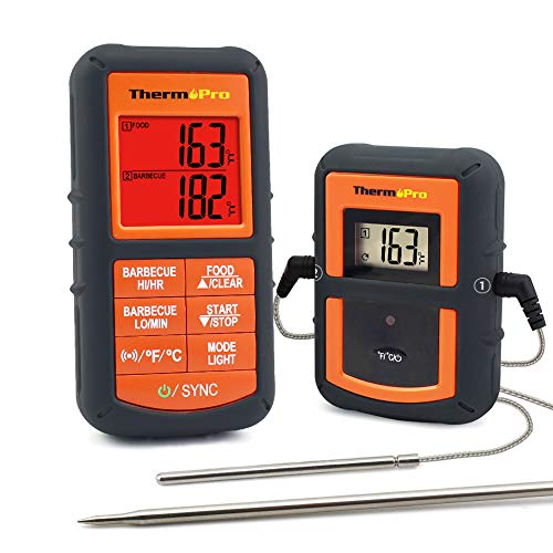 ThermoPro TP-08S Wireless Remote Digital Cooking Meat Thermometer Dual Probe for Grilling Smoker BBQ Food Thermometer - Monitors Food from 300 Feet ()