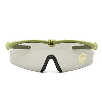 Gafas de Sol polarizadas Gafas de Militares del ejército los Hombres Frame 3/4 Lente Agencia de Juego de Guerra eyeshields(Marrón, polarizado 4 Lentes): ...