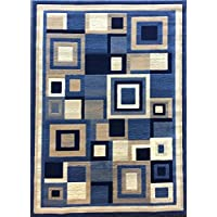 Americana Modern Area Rug Geometric Blue Design 125 (8 feet X 10 feet 6 inches)
