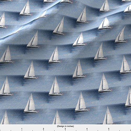 Kona Sailboat - Spoonflower Stofftoy Fabric Sailboat by Stofftoy Printed on Kona Cotton Ultra Fabric by the Yard