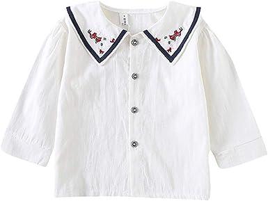 ALLAIBB Camisa de la Solapa del Bordado de la Blusa del Cuello del Marinero de la Muchacha 1-4años: Amazon.es: Ropa y accesorios