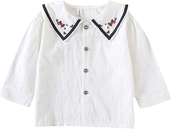 ALLAIBB Camisa de la Solapa del Bordado de la Blusa del ...