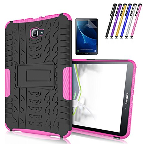 Galaxy Tab A 10.1 Case, Windrew Heavy Duty Hybrid Protective Case with Kickstand Impact Resistant For Samsung Galaxy Tab A 10.1 Inch SM-T580 SM-T585 + Screen Protector Film and Stylus Pen (Pink)