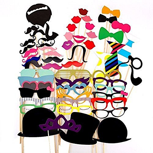 [58 Pieces Party Photo Panel Photo Booth Props Set Photo Prop Of Photo Accessories For Wedding Anniversary Graduation Party] (Diy Family Costumes)