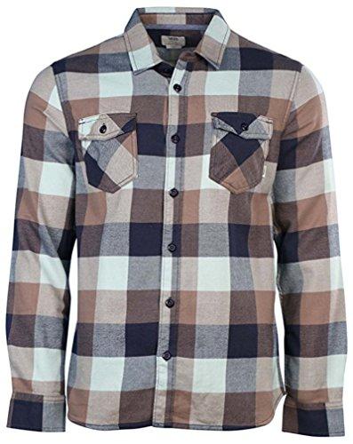 Bay Flannel Shirt - Vans Men's Long Sleeve Box Flannel Plaid Shirt (Small, Black/Green/Gray)