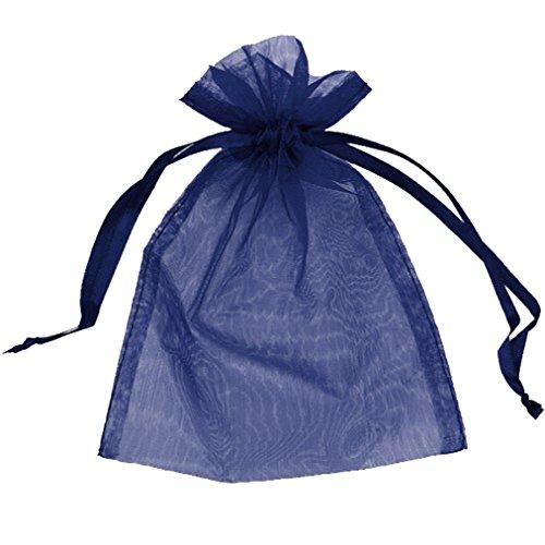 3x4 Navy Blue Organza Bags - 100 pcs Sheer Organza Drawstring Pouches Gift Bags Navy Blue Color 3x4 Inches