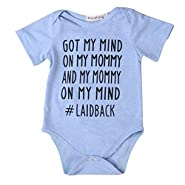 Newborn Baby GOT MY MIND ON MY MOMMY Funny Bodysuits Onesies Outfits Blue
