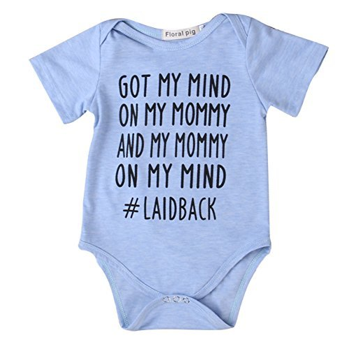 Funny Onesie - Newborn Baby GOT MY MIND ON MY MOMMY Funny Bodysuits Rompers Outfits Blue (3-6M, blue)