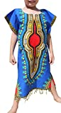 Raan Pah Muang RaanPahMuang Tassel Hemmed Full One Piece Dashiki Short Sleeve Dress In Base White, 0-2 Years, Blue