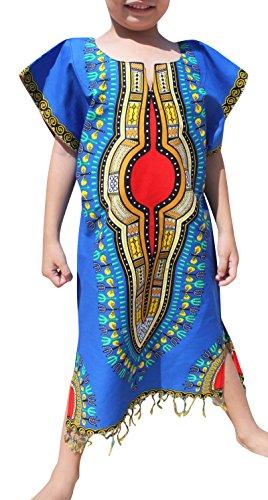 Raan Pah Muang RaanPahMuang Tassel Hemmed Full One Piece Dashiki Short Sleeve Dress In Base White, 0-2 Years, Blue - Zero Short Sleeve Base