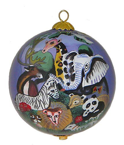 Home and Holiday Shops Zoo Animals Wildlife Reverse Painted Glass Christmas Tree Ornament Decoration