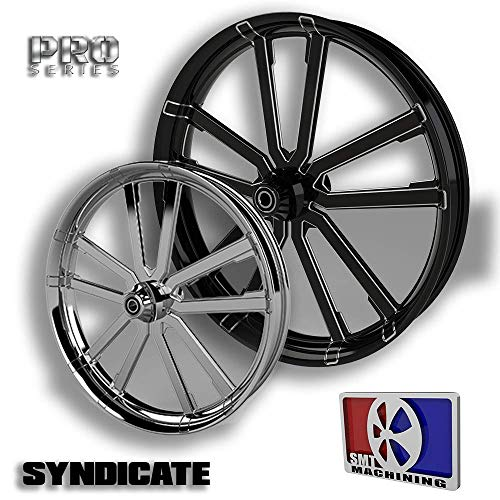 SMT Machining 30 Black Contrast Cut Syndicate Wheel 2008-2018 Harley Bagger Models 18