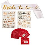 "Bachelorette Party Decorations | Includes 20 Untamed Dare Cards Game (Uh Oh), 1 "" Bride to Be "" Satin Wedding Bridal Sash & 42+ Assorted Bride Flash Tattoos 
