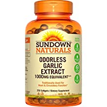 Sundown Naturals Garlic 1000 mg, 250 Odorless Softgels