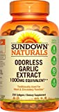 Sundown Naturals Odorless Garlic 1000 mg softgels provide you with the goodness of pure garlic oil, minus the unpleasant aftertaste. Garlic's history traces back to A.D. 510 in ancient China. Garlic has been traditionally used for its antioxidant pro...