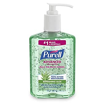 PURELL 9674-12-CMR Advanced Hand Sanitizer Aloe, 8 Ounce (Pack of 12)