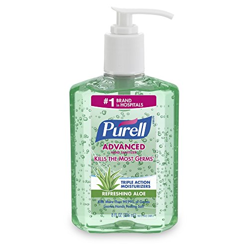PURELL Advanced Hand Sanitizer Gel, Refreshing Aloe, 8 fl oz Hand Sanitizer Table Top Pump Bottles (Pack of 12) - 9674-06-EC2PK ()