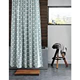 CB2 Swirl Shower Curtain 100-Percent Cotton Modern Printed Shower Curtains 72-Inch by 72-Inch White and Turquoise Aqua Shower Curtain offers