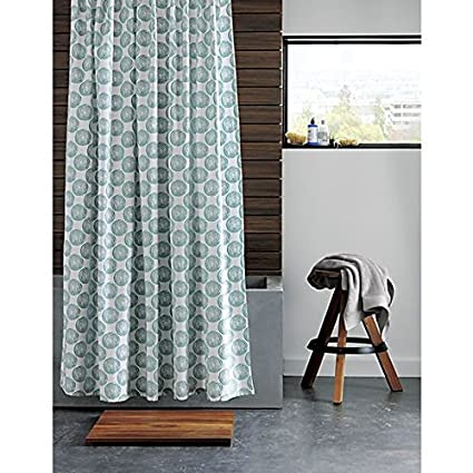 CB2 Swirl Shower Curtain 100 Percent Cotton Modern Printed Curtains 72 Inch By