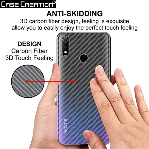 Case Creation Ultra Thin Slim Fit 3M Clear Transparent 3D Carbon Fiber Back  Skin Rear Screen Guard Protector Sticker Protective Film Wrap Not Glass