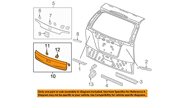 Rear Honda Genuine 74890-S5A-J01ZA License Garnish Assembly