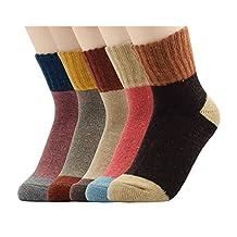 Socks - SODIAL(R) Womens Super Thick Merino Ragg Knit Warm Wool Crew Mid-Calf Winter Socks L Patchwork Color-5 Pack