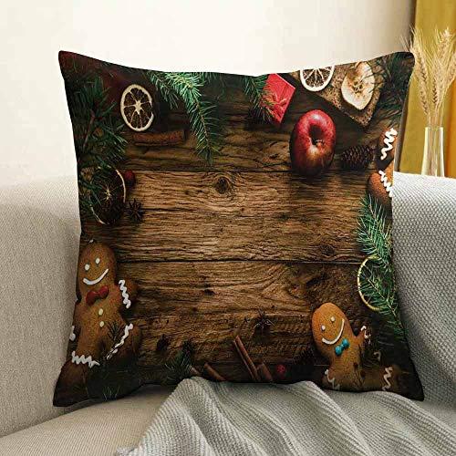 Christmas Pillowcase Hug Pillowcase Cushion Pillow Gingerbread Man Gift Box Coniferous Pine Cinnamon Dessert on Rustic Wood Theme Anti-Wrinkle Fading Anti-fouling W16 x L16 Inch Brown Green