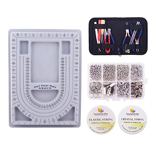 PandaHall Elite Jewelry Making Starter Kit Complete Bead Board Beading Wire DIY Jewelry Tool Pliers Kit Mix Lot Pack (Jewelry Making Starter Kit)