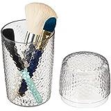 mDesign porta pennelli per la postazione trucco - porta cosmetici per il lavandino con coperchio - portaoggetti ideale per il make up - trasparente