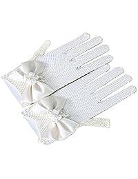 Tinksky Flower Girl Gloves Lace Short Princess Mesh Gloves for Wedding (White)