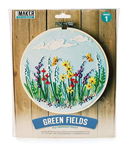Mini Maker Green Fields Wildflowers Kit: 25 Piece Embroidery Project (kit, Embroidery, DIY, Flowers, Hoop, Mini Maker)