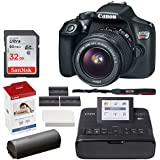 Canon EOS Rebel T6 Digital SLR Camera + EF-S 18-55mm Lens + 32GB Memory Card + Canon SELPHY CP1300 Compact Photo Printer (Black) + Canon KP-108IN Color Ink and Paper Set + Replacement Printer Battery