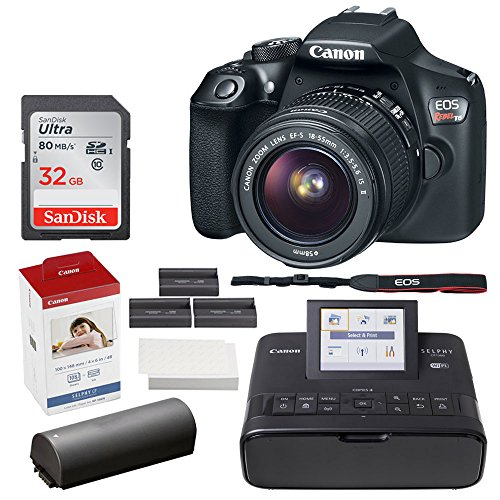 Canon EOS Rebel T6 Digital SLR Camera + EF-S 18-55mm Lens + 32GB Memory Card + Canon SELPHY CP1300 Compact Photo Printer (Black) + Canon KP-108IN Color Ink and Paper - Colour Pictbridge