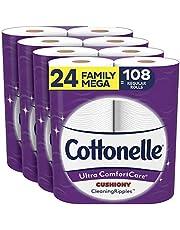 Cottonelle Ultra Comfortcare Soft Toilet Paper, 24 Family Mega Rolls Bathroom Tissue (Equals 108 Regular Rolls)