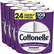 Cottonelle Ultra ComfortCare Toilet Paper with Cushiony CleaningRipples, 24 Family Mega Rolls, Soft Bath Tissu