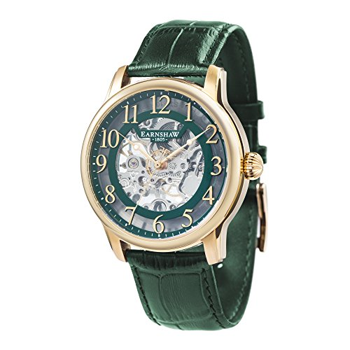 Thomas Earnshaw Men's 'LONGITUDE' Mechanical Hand Wind Stainless Steel and Leather Casual Watch, Color:Green (Model: ES-8062-06)