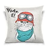Top Carpenter Cat With Steampunk Helmet Velvet Plush Throw Pillow Cushion Case Cover - 16'' x 16'' - Invisible Zipper Home Decor Floral for Couch Sofa No Pillow Insert