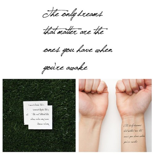 Tattify Inspriring Quote Temporary Tattoo - Realist (Set of 2) (Quotes Temporary Tattoos)