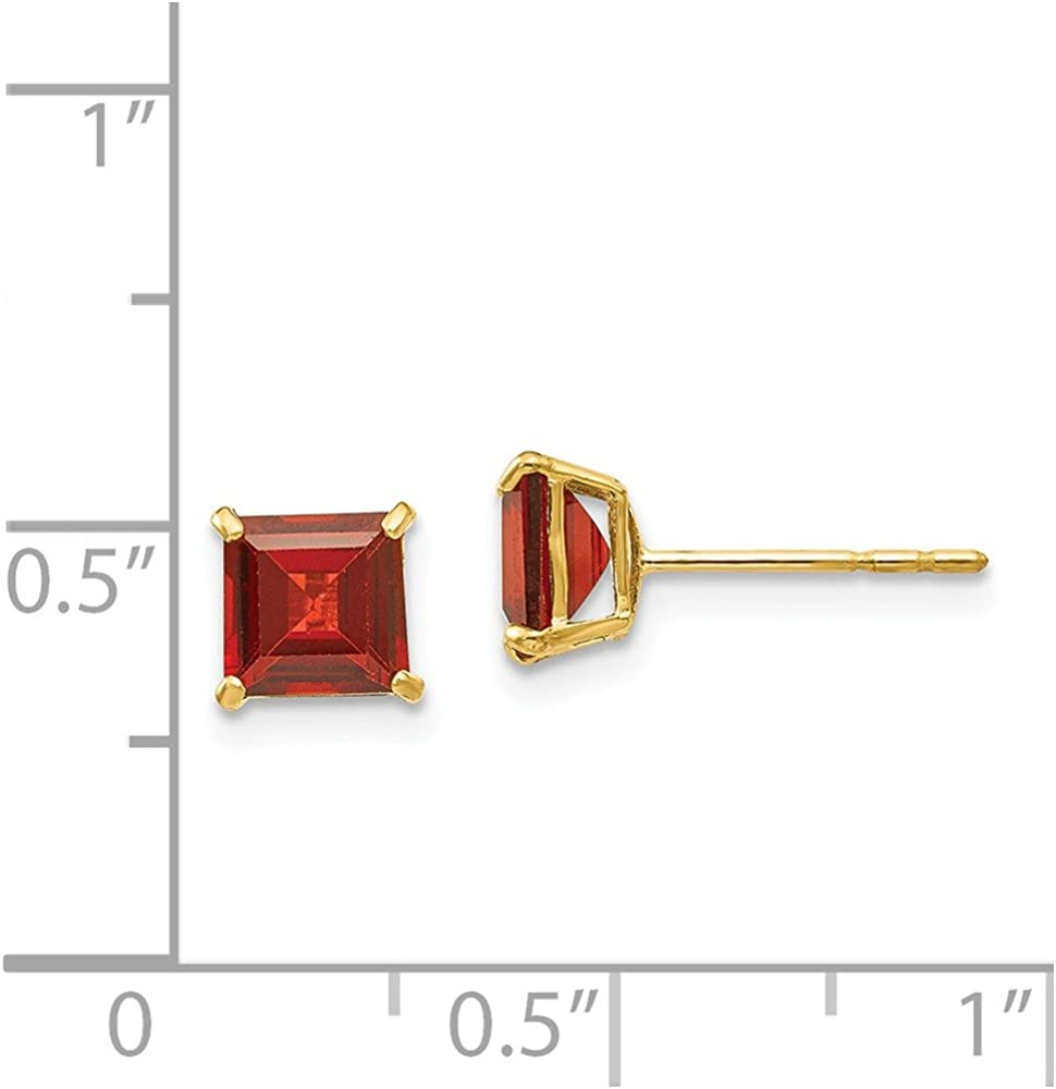14kt Yellow Gold Madi K Garnet 5mm Princess Square Post Earrings