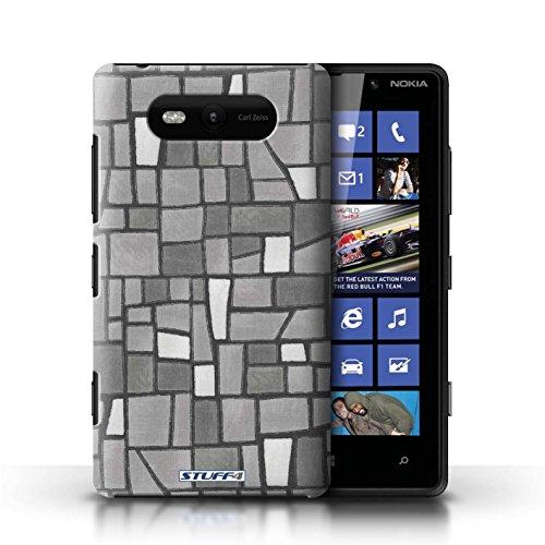 Etui / Coque pour Nokia Lumia 820 / Gris/Blanc conception / Collection de Carrelage Mosaïque