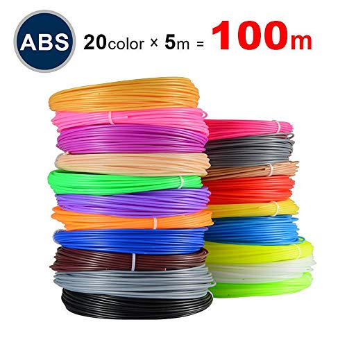 ABS Filament for 3D Printers, 1.75mm Printing Materials,Set 20 Colors Random,Each Color 5m/16.4ft,Safety Kids Printer…