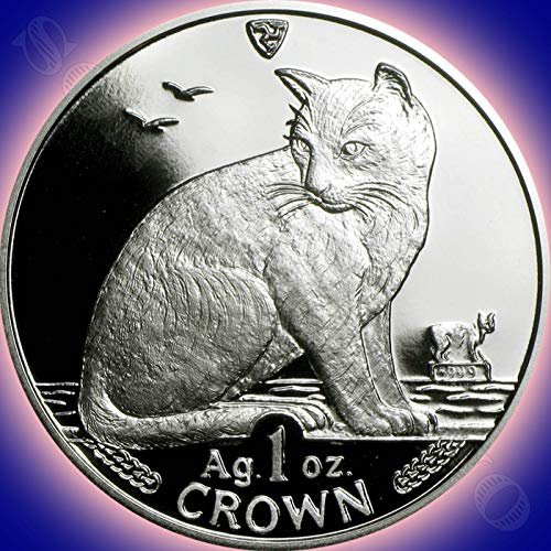 1990 NEW YORK ALLEY CAT COIN - 1 Oz .999 Silver Proof Crown Coin - Isle of Man - Brand New from the Mint in Box with Certificate of Authenticity