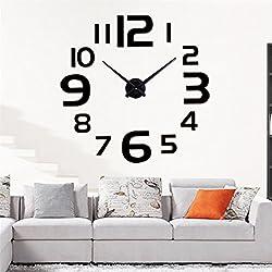 Modern Wall Clock 3D Frameless DIY Large Number Clock Home Decor Sticker Black Mirror Bar