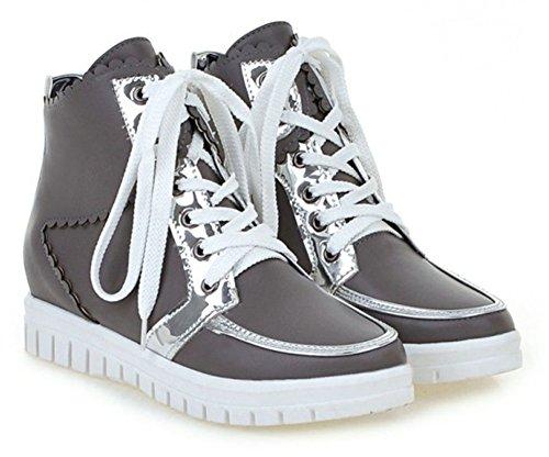 Chfso Womens Trendy Lace-up Ronde Neus Sleehak Platform Enkel Sneakers Grijs
